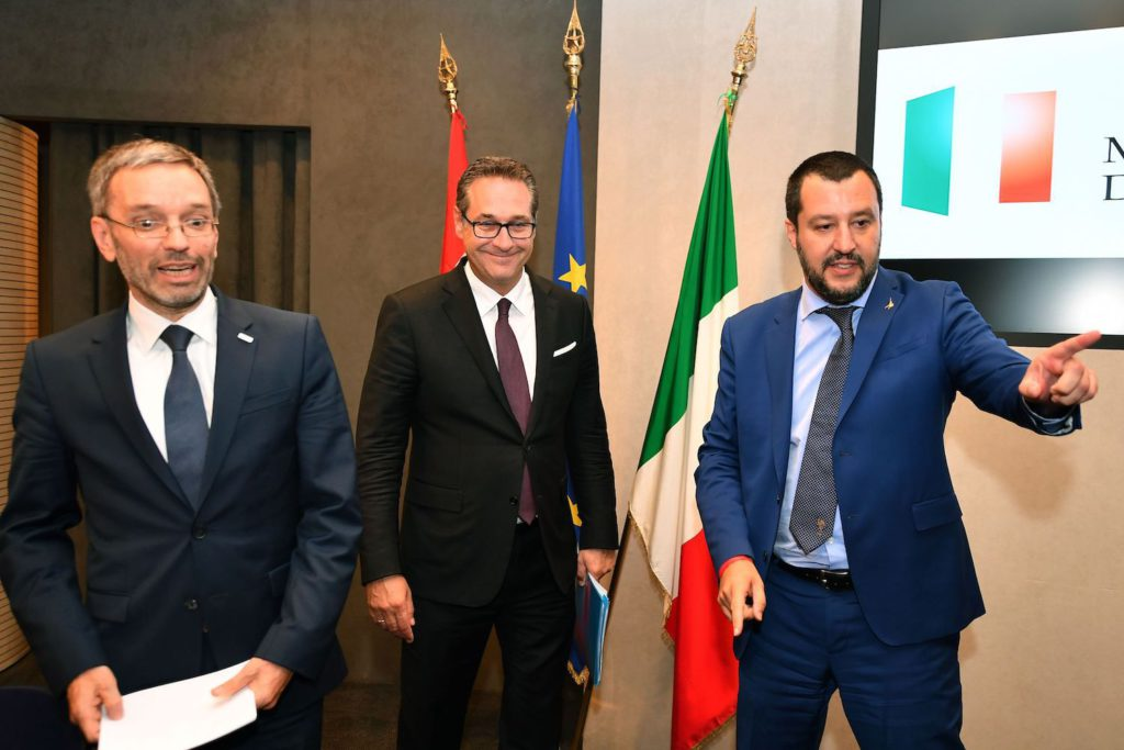 Austria's Interior Minister Herbert Kickl (L), Italy's Interior Minister and deputy Prime Minister Matteo Salvini (R) and Austria's Vice Chancellor Heinz-Christian Strache (C) arrive to give a joint press conference at the end of their meeting at the Viminale palace in Rome on June 20, 2018. (Photo by Alberto PIZZOLI / AFP)        (Photo credit should read ALBERTO PIZZOLI/AFP/Getty Images)