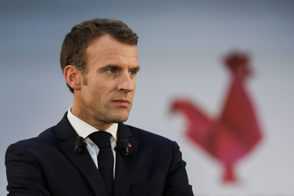 French President Emmanuel Macron speacks as he visits Station F startup campus in Paris, on October 9, 2018. (Photo by LUDOVIC MARIN / various sources / AFP)        (Photo credit should read LUDOVIC MARIN/AFP/Getty Images)