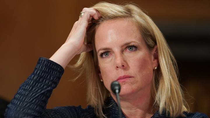 """Department of Homeland Security Secretary Kirstjen Nielsen testifies before a Senate Homeland Security and Governmental Affairs Committee hearing on """"Authorities and Resources Needed to Protect and Secure the United States,""""  on Capitol Hill in Washington, DC, U.S., May 15, 2018. REUTERS/Erin Schaff - HP1EE5F1JZT1S"""