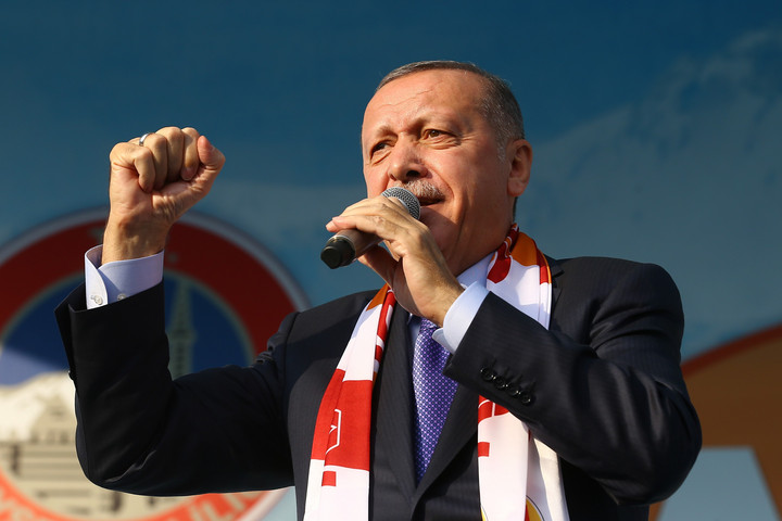 KAYSERI, TURKEY - OCTOBER 19: Turkish President Recep Tayyip Erdogan addresses the crowd during a mass opening ceremony in Kayseri, Turkey on October 19, 2019. Volkan Furuncu / Anadolu Agency