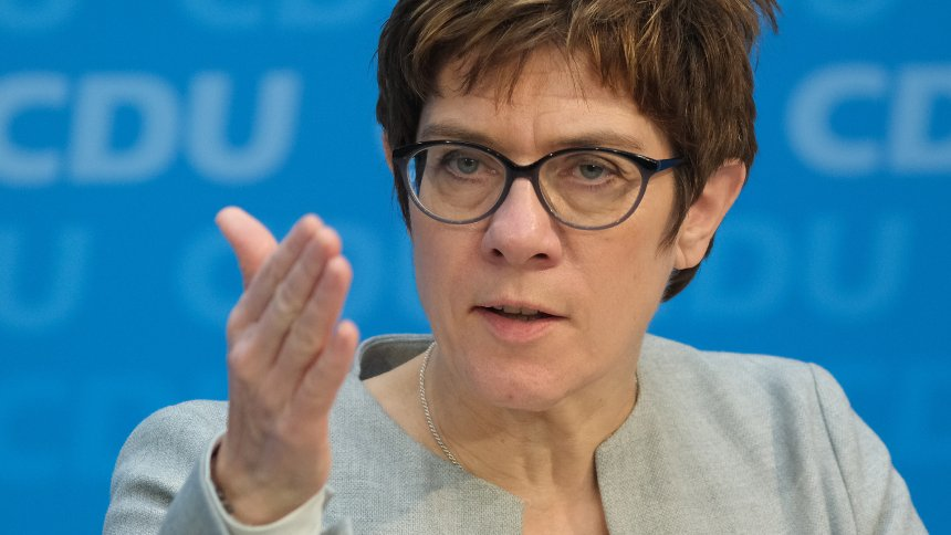 BERLIN, GERMANY - JANUARY 29: Annegret Kramp-Karrenbauer, chairwoman of the German Christian Democrats (CDU), and Markus Soeder (not pictured), chairman of the Bavarian Christian Democrats (CSU), speak to the media following talks between the two party leaderships on January 29, 2019 in Berlin, Germany. Both are new leaders of their parties and are seeking to work closer together than in previous years.  (Photo by Sean Gallup/Getty Images)