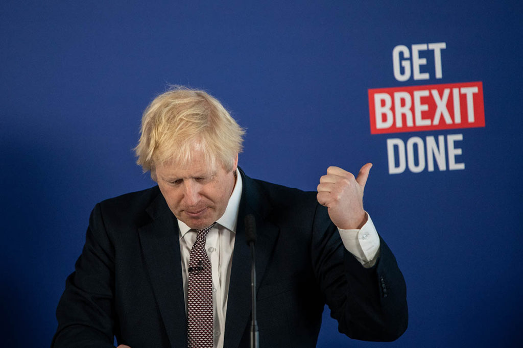LONDON, ENGLAND - NOVEMBER 29: British Prime Minister Boris Johnson speaks at a press conference alongside cabinet minister Michael Gove and former Labour Party MP Gisela Stuart on November 29, 2019 in London, England. Mr Johnson talked about his party's plans to solve the impasse on Brexit and answered questions from journalists on a number of issues. (Photo by Chris J Ratcliffe/Getty Images)